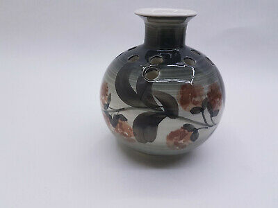Vintage Jersey Pottery Vase / Pot Pourri Free Hand Painted Flowers • 1.99£