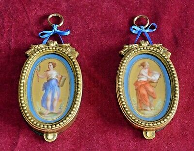 Antique Victorian Hand Painted Sevres Style Panels In Gilt Ormolu Frames Pair Of • 155£