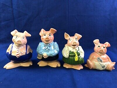 4 X NatWest Pigs Set, 2 With Stoppers. • 40£