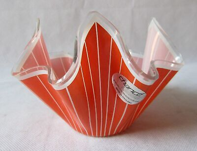 1960s Retro Orange White Stripe Cordon Chance Handkerchief Hankie Glass Vase • 17£