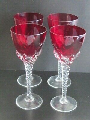 Antique Set Four Ruby Red Drinking Glasses Twisted Stem Claw Setting C1930's • 48£