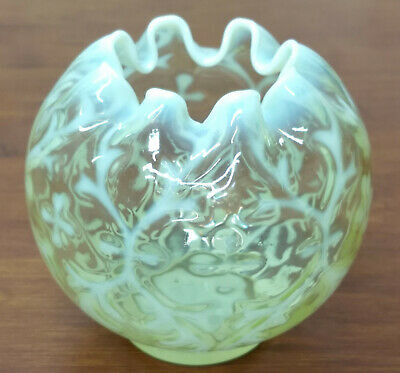 Northwood SPANISH LACE Opaline Brocade Vaseline Opalescent Art Glass ROSE BOWL • 28.33£