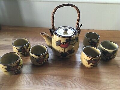 Vintage 1970s Japanese Stoneware Tea Set Teapot Bamboo Handle 6 Cups • 25£