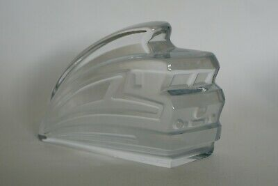 Nice DAUM Clear & Frosted Speeding Train Desk Or Paperweight - Art Deco - Signed • 49.95£