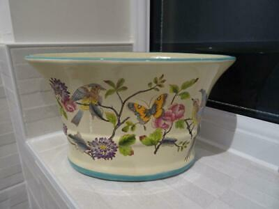 Attractive Flared Rim Pot/Jardiniere With Bird & Butterfly Decoration • 14.95£