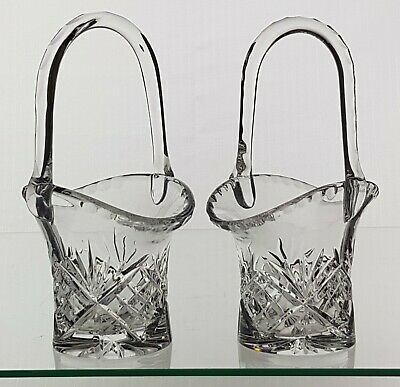 An Identical Matching Pair Of Crystal Glass Hand Cut Posy Flower Baskets • 29.95£