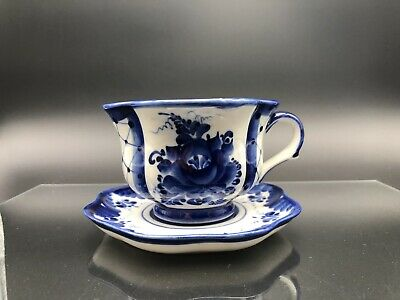 Gzhel Hand Painted Porcelain Tea Cup & Saucer Set - Hand Made In Russia. • 24.50£