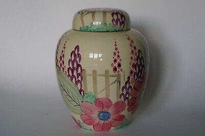 Grays Pottery Free Hand Painted Floral LARGE GINGER JAR & COVER - Patt 9636 1931 • 95£