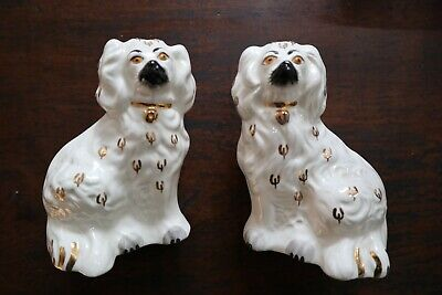 Pair Vintage Beswick Staffordshire Wally Mantle Dogs 5.5  Figures With Labels • 24£