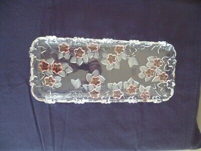 Vintage Waltherglas/Walther Glass Pink Floral Tray • 8£