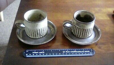 PAIR Of Vintage TREMAR Studio Pottery, Cornwall Stoneware Cups & Saucers 1970s • 6£