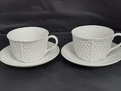 2 X Tiffany & Co IRISH PORCELAIN 'Tiffany Weave' TEA CUPS & SAUCERS • 60£