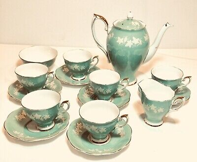 Vintage China Coffee Set Royal Stafford Green White Flowers Afternoon Tea Party • 45£