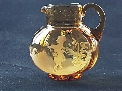 Antique Victorian Mary Gregory Souvenir Amber Glass Jug Snapped Pontil C. 1896 • 14.95£