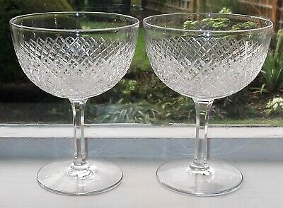 TWO ANTIQUE CHAMPAGNE GLASSES SAUCER SHAPE CUT CRYSTAL C.1900 • 29£
