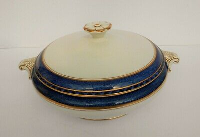 Art Deco Booths Silicon White And Cobalt Lidded Vegetable Dish.c.1928. • 14.99£