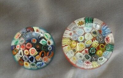 Two Strathearn Millefiori Small Paperweights • 14.99£