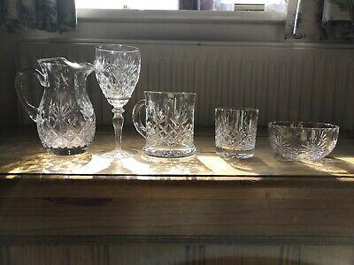 Vintage Cut Glass Crystal 18 Piece Set Wine Jug Bowl • 28£
