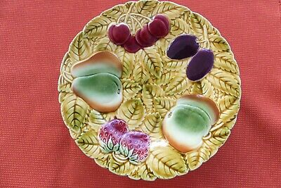 Sarreguemines French Majolica Footed Cake Plate With Fruit Design • 8£