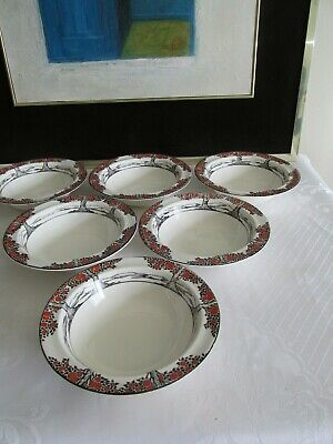 6 X Crown Ducal Orange Tree Rimmed Fruit Bowls - 1st Quality  • 30£