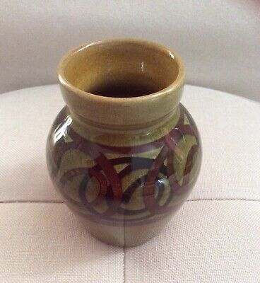 Vintage Retro 60s 70s Green Brown Pottery Brixham Made In England Vase • 9.95£
