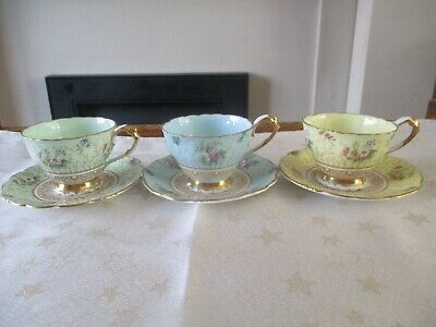 Paragon Harlequin Cups And Saucers X 3 • 59.99£