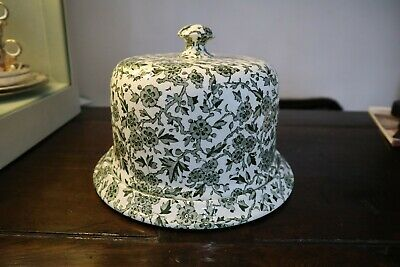 Beautiful Burleigh Arden Green & White Patterned China Cheese Bell / Dome VGC • 34£