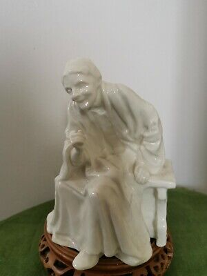 Vintage Parian Old Lady Figurine Sitting On A Bench • 40£