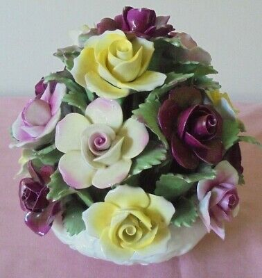Large Hand Modelled Aynsley Bone China Rose / Flower  Bouquet In Bowl • 7.99£
