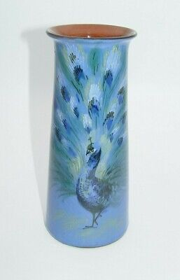 Early Antique Torquay Ware / Devon Motto Ware Vase With Peacock - Perfect • 19.99£