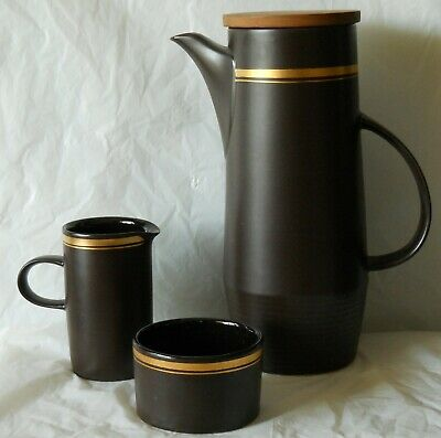 A Brown / Gold Purbeck Pottery Plymouth Coffee Pot + Jug & Bowl Robert Jefferson • 18.99£