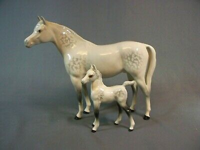 Beswick Dapple Grey Horse And Foal Figures A/f • 19.59£