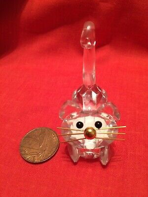 Tiny Miniature Cat Gold Metal Whisker Cut Crystal Bohemia OLD • 2.50£