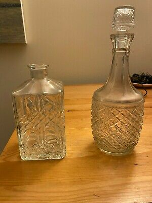 Pair Of Vintage Glass Decanters • 2£