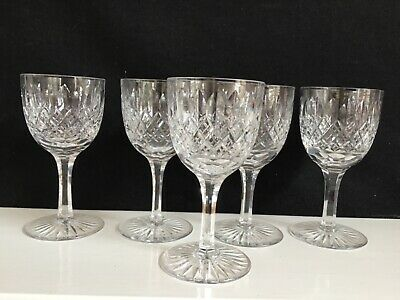 Five Tudor Crystal Cut Bowl, Stem And Foot Small Wine Glasses • 12£