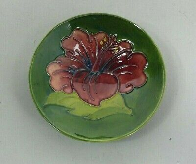 Lovely Moorcroft Art Pottery Hibiscus Design Footed Dish C.1980 • 49£