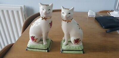 "Pair Of Staffordshire WareVintage Flower/white Mantelpiece Cat On Cushion 7.5"" • 15£"