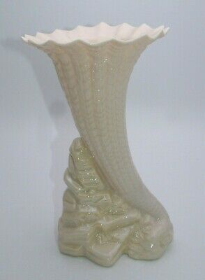 Large Irish Belleek Cornucopia Vase 9 Inches Tall - Perfect • 19.99£