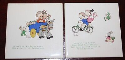 Two Shelley Mabel Lucie Attwell Baby Porcelain Tiles. • 5£