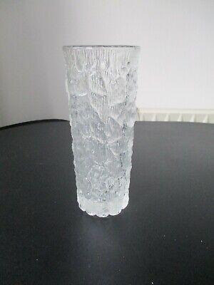 Studio Art Glass Vase Frosted Textured H 7,25  W 3   • 3.99£