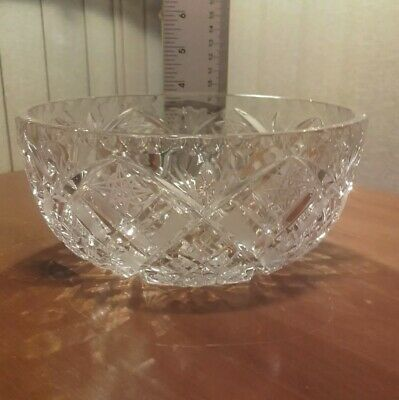 Vintage Bohemian Heavy Lead Crystal Cut Glass Fruit Bowl 8  Diameter VGC • 12£