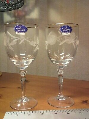 Wine Glasses ROYAL DOULTON Finest Crystal COUNTRY ROSE GOLD BOXED Vintage Pair • 12£