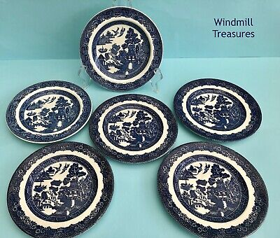 Set 6 Vintage Mismatched Blue & White Willow Pattern Small Side Plates • 12.99£