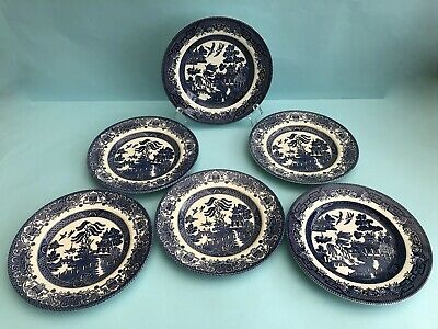 6 Vintage Blue & White Willow Pattern Tea Plates Churchill Eit - Great Condition • 14.99£