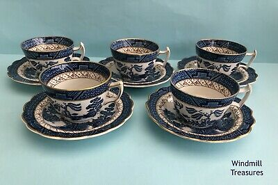 5 Real Old Willow Blue & White Willow Pattern Cups & Saucers - Great Condition • 19.99£