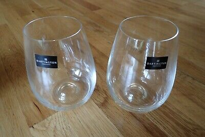 2 Dartington Crystal Clear Stemless Wine Glasses New C/w Box • 3.20£