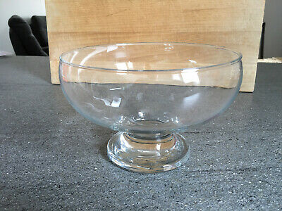 Clear Glass Fruit Bowl - 12cm Tall And 18cm Diameter • 2.99£