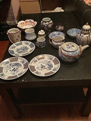 Joblot Blue + White Oriental Red Japanese Collectible Bowls,plates,teapot.   Cc • 8.50£