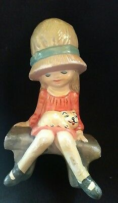 Girl With Cat On Bench Ornament/figurine • 0.20£