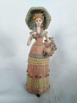 Vintage Felt Covered Lady Ornament With Umbrella And Flower Basket • 9.99£